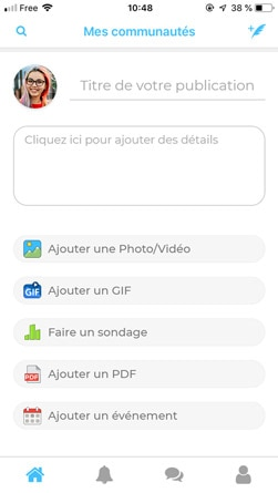 Annonce sur l'interface mobile
